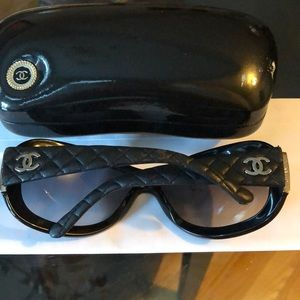 Authentic Chanel Leather Quilted Sunglasses